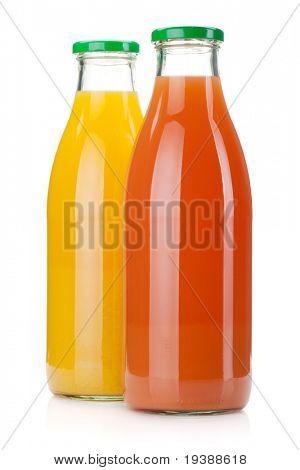Orange and grapefruit juice bottles. Isolated on white background