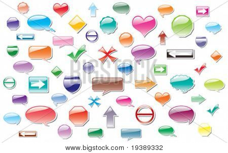 vector big collection of colorful labels, sticker style