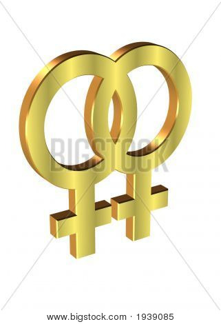 2 Female Gender Symbols Over White For Gay Pride