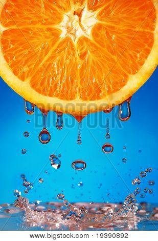 Water falling from ripe orange
