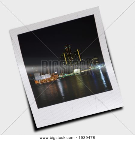 Polaroid Slide Of City Skyline