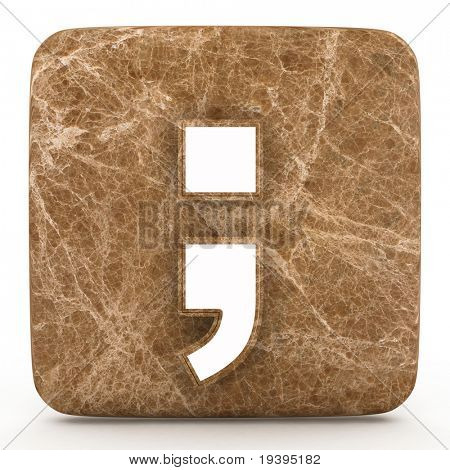 Marble semicolon on a white isolated background