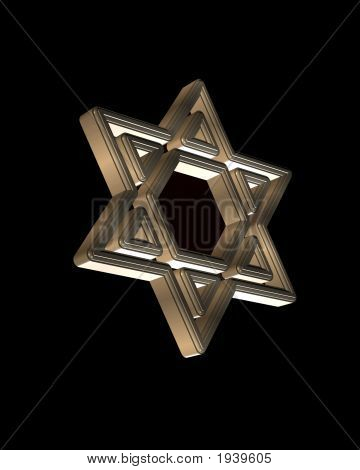 3D Star Of David Over Black