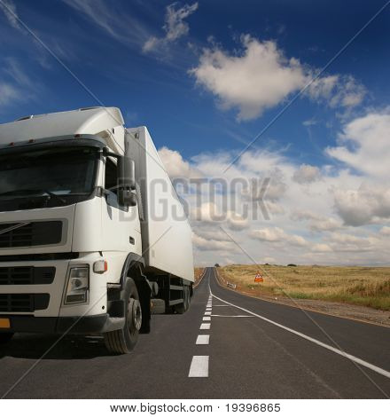 The lorry on a road