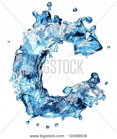 water with ice alphabet isolated on white