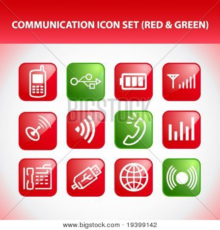Communication Icon Set (Red & Green)