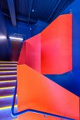 Stairs. Top view of modern architecture detail. Refined fragment of contemporary office interior or  poster
