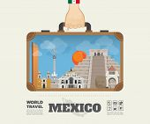 Hand Carrying Mexico Landmark Global Travel And Journey Infographic Bag. Vector Design Template.vect poster