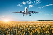 Landscape With Big White Passenger Airplane poster