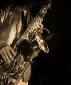 stock photo of saxophone player  - Jazz music - JPG