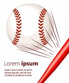 Vector Illustration Of Softball Or Baseball With Movement Motion Lines Web Site Page And Mobile App poster