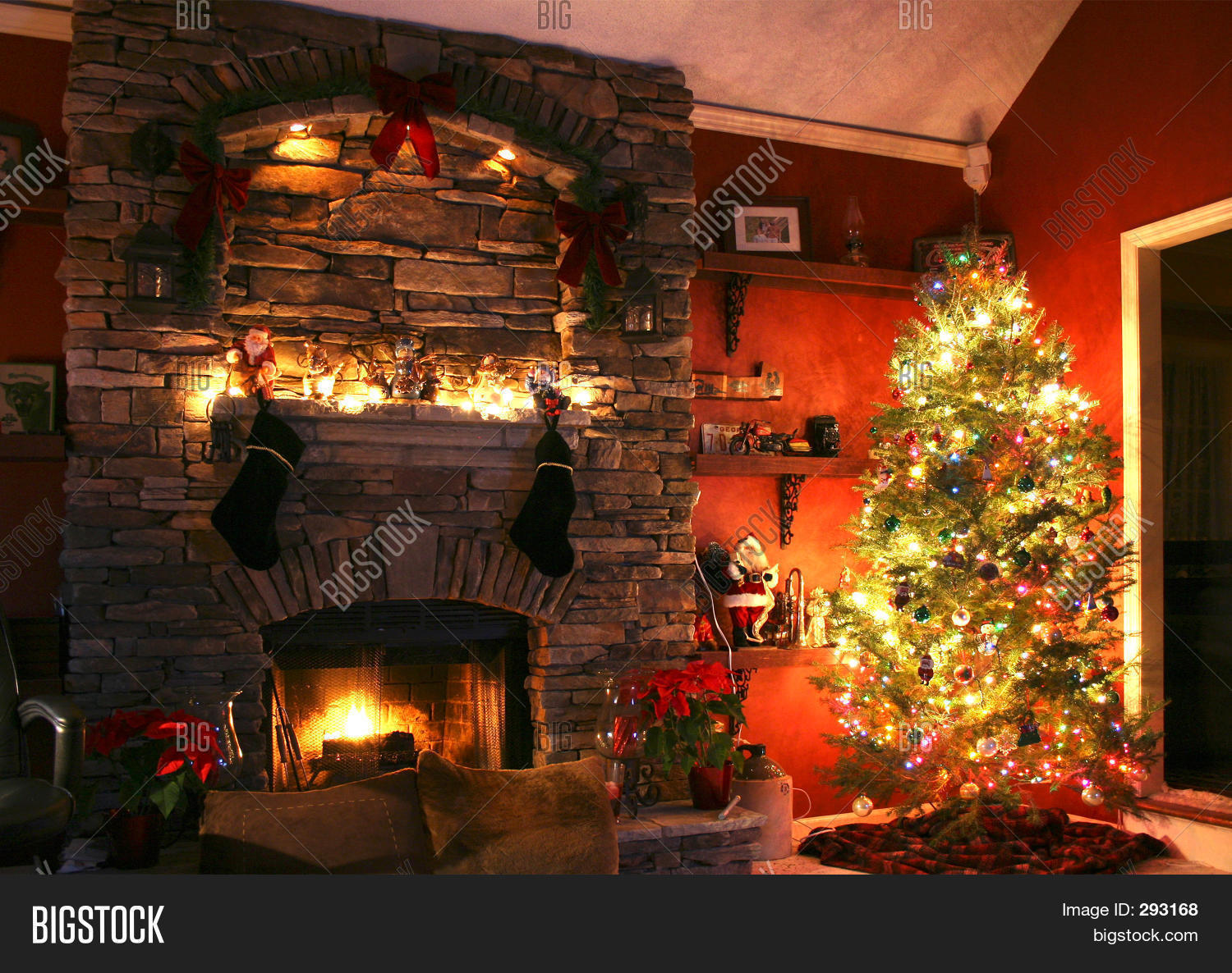 Fireplace Christmas Tree Photo Album Best Home Design