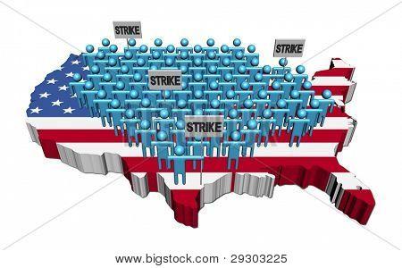 trabalhadores em greve em ilustração de bandeira de mapa EUA