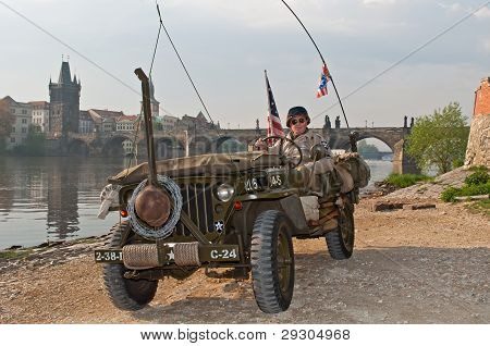 American Veteran And Jeep