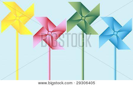 Set Of 4 Origami Pinwheels