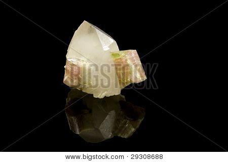 Quarz und Turmalin Kristall