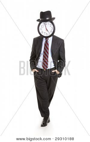 Casual, relaxed businessman with a clock for a face.  Full body isolated on white.