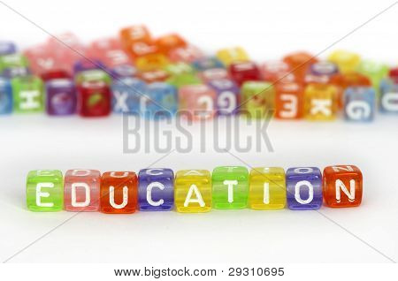 Text Education On Colorful Wooden Cubes