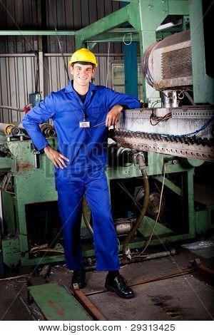 heavy industry mechanic portrait in factory