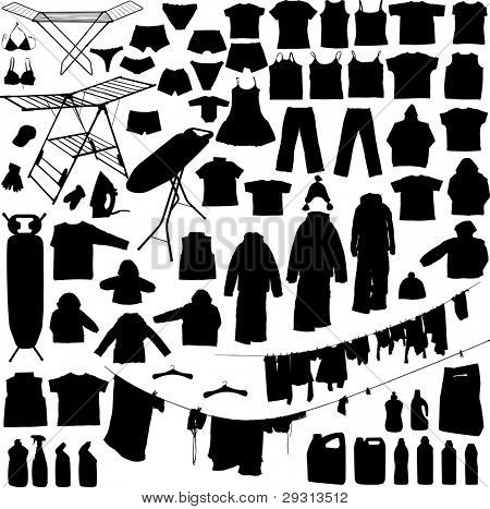 Laundry objects black and white silhouettes including hangers, detergent iron, ironing board, clothe line etc