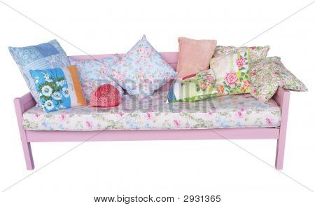 Pink Sofa With Floral Cushions