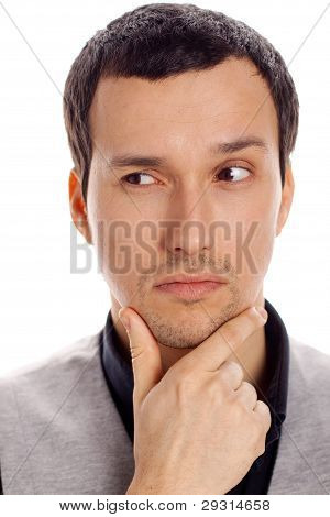 thinking man with white background