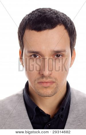 serious man with white background