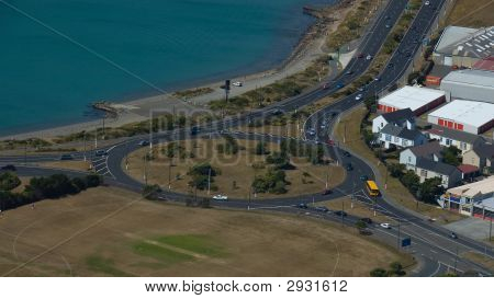 Aerial Shot Of Roundabout With Traffic