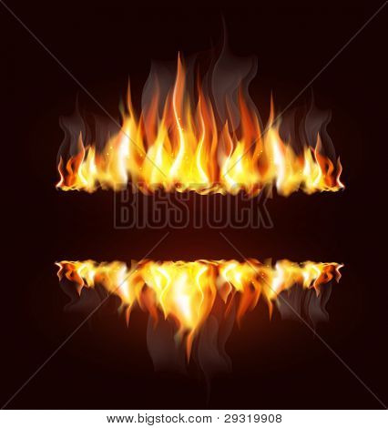 vector background with a burning flame and place for text