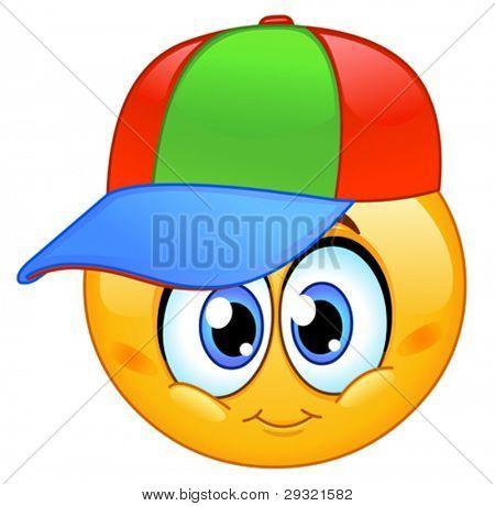 Kid emoticon wearing a baseball cap