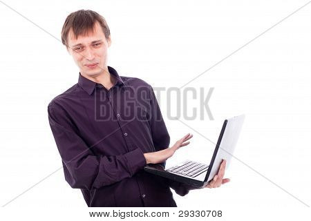 Funny Weirdo Man With Laptop
