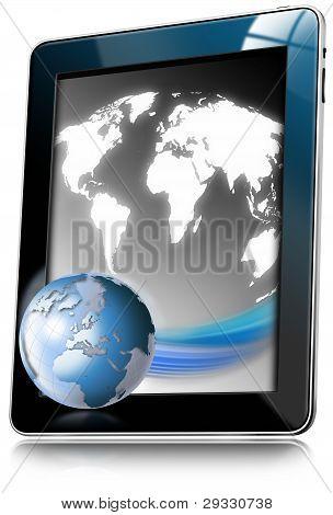 Tablet PC mit Weltkarte