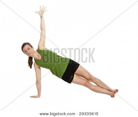 woman doing yoga, plank position with clipping path
