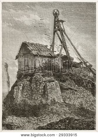 Montchanin mine abandoned well old illustration. Created by Neuville after Bonhomme, published on Le Tour du Monde, Paris, 1867