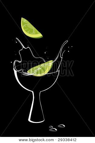 Vector image of  cocktail with lime, isolated on black