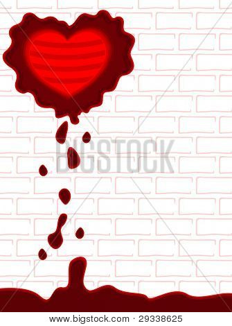 Vector illustration of a broken heart shape with blood on wall background for Valentines Day and other occasions.