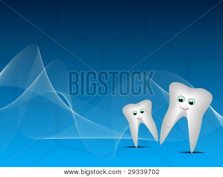 Vector illustration of happy teeth on blue wave dental background.