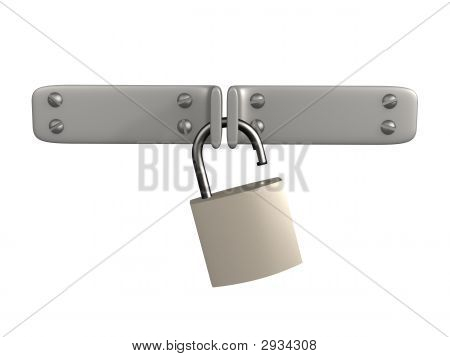 3D Open Lock, Hanging On Two Metal Shutters