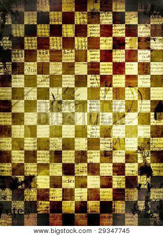 Fondo abstracto ajedrez para diseño con papeles de Grunge