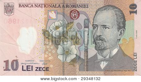 The banknote is 10 leus, the sample in 2005, the front side.