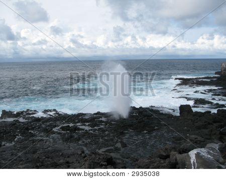 Ocean Blow Hole In Galapagos Islands