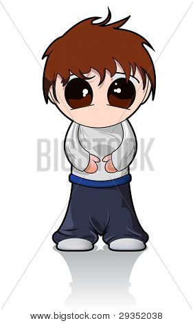 vector cute chibi boy isolated on white