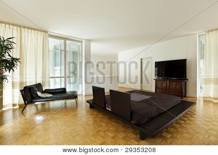 Bright duplex with hardwood floors, large room with double bed