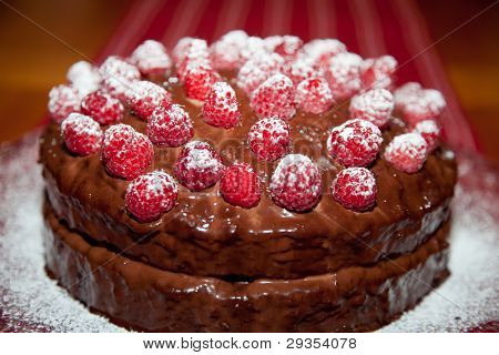Close Up Of A Chocolate Raspberry Cake