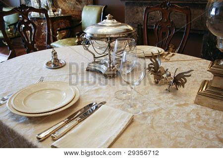 Luxury Table Setting With Silver