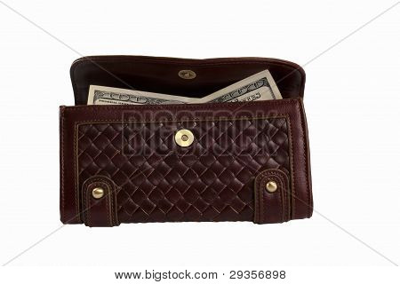 Purse With Cash Isolated Over White Background
