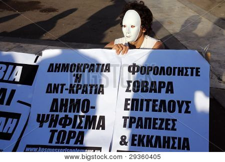 Protester In White Mask