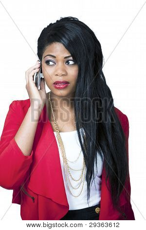 Worried Girl On Mobile Phone