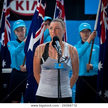 MELBOURNE - JANUARY 27:  Vera Zvonareva of Russia gives the winners speech for the doubles championship at the 2012 Australian Open on January 27, 2012 in Melbourne, Australia.