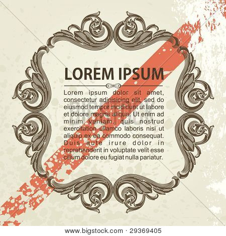 vintage vector frame ornate with sample text grunge style